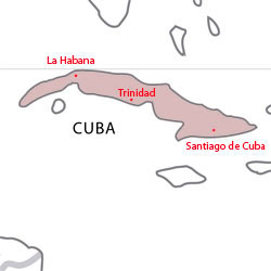 Map of destinations for Spanish courses in Cuba