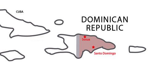 Map of destinations for Spanish courses in Dominican Republic