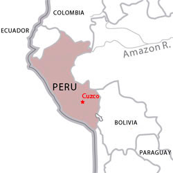 Map of destinations for Spanish courses in Peru